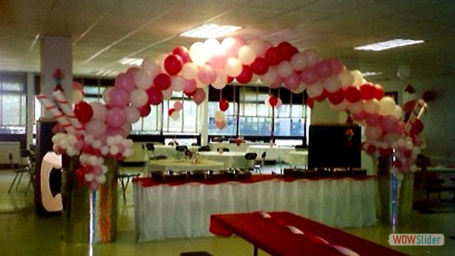 Ballroom Party Spiral Balloon Arch and Balloon Table Decor
