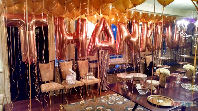 Letter Balloons and Balloon Ceiling Decor