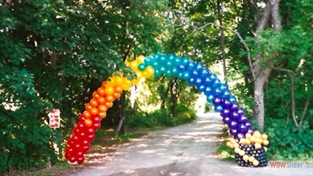 Spiral Balloon Arch Garden Entrance