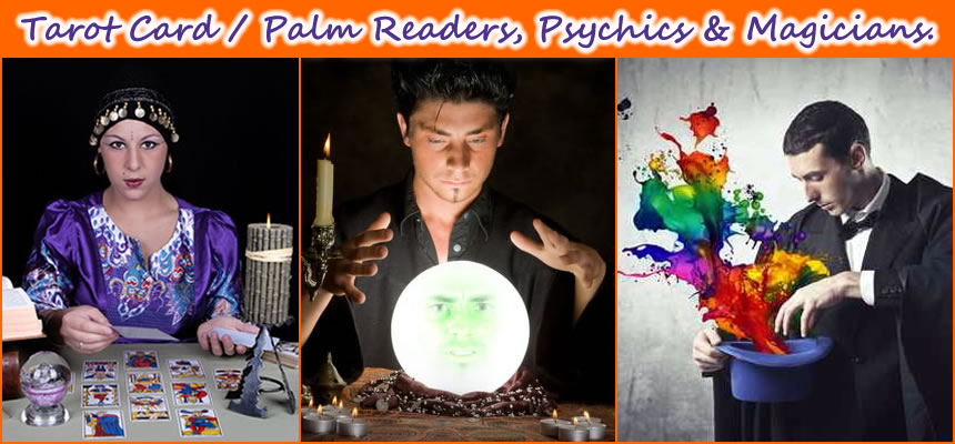 Halloween Magicians, Palm Readers, Phychics